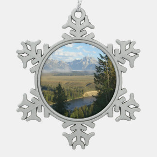 Ornement Flocon De Neige Montagnes et rivière de Jackson Hole