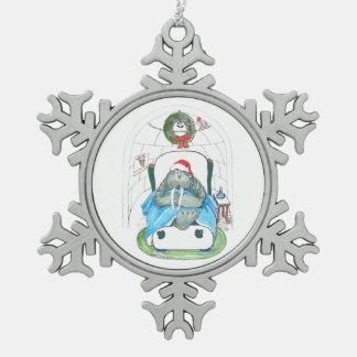 Ornement Flocon De Neige Morse de Noël et assoupissement Père Noël d'igloo