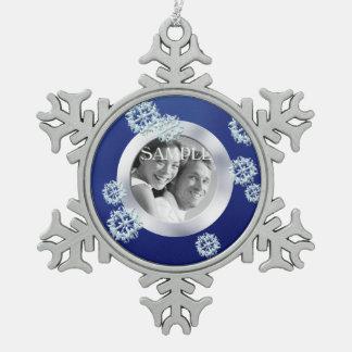 Ornement Flocon De Neige Noël bleu de modèle photo de flocon de neige