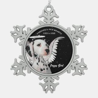 Ornement Flocon De Neige Noël dalmatien doux de mémorial d'animal familier
