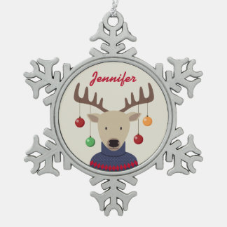 Ornement Flocon De Neige Noël de cerfs communs