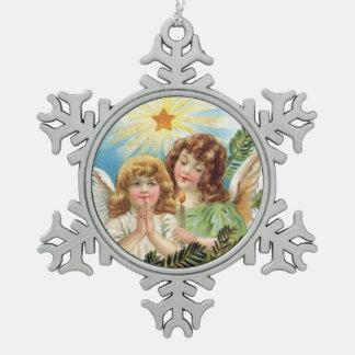 Ornement Flocon De Neige Noël - deux petits anges