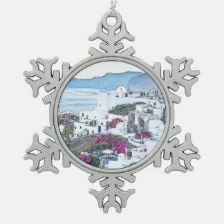 Ornement Flocon De Neige Noël fait sur commande Santorini Grèce