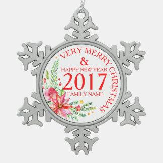 Ornement Flocon De Neige Noël fleurit le modèle de bouquet et de textes