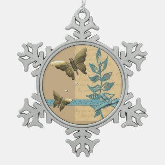 Ornement Flocon De Neige Papillon en métal de Steampunk