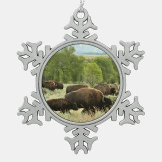 Ornement Flocon De Neige Photographie d'animal de nature de bison du