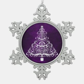 Ornement Flocon De Neige Pourpre d'arbre de Noël blanc