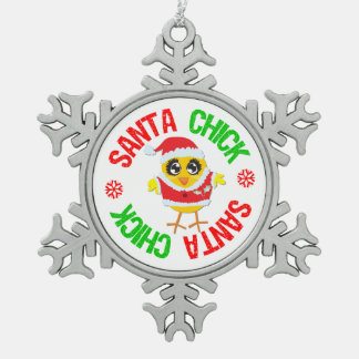 Ornement Flocon De Neige Poussin du père noël célébrant Noël