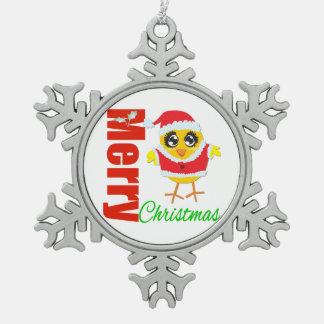 Ornement Flocon De Neige Poussin du père noël de Joyeux Noël