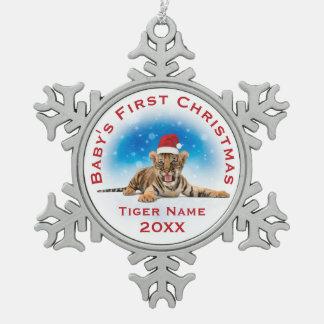 Ornement Flocon De Neige Premier nom de tigre de Noël |