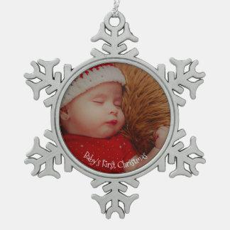 Ornement Flocon De Neige Premier souvenir de Noël de votre bébé de photo