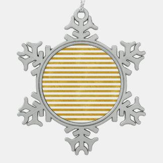 Ornement Flocon De Neige Rayure élégante d'or - coutume votre couleur