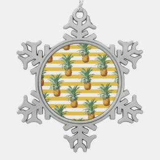 Ornement Flocon De Neige rayures jaunes de pinepples