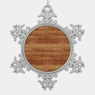 Ornement Flocon De Neige Regard du bois de grain d'acacia bouclé de Koa