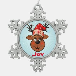 Ornement Flocon De Neige Renne drôle avec le casquette de Père Noël