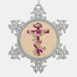 Ornement Flocon De Neige Roses orientaux orthodoxes bizantins de rose de