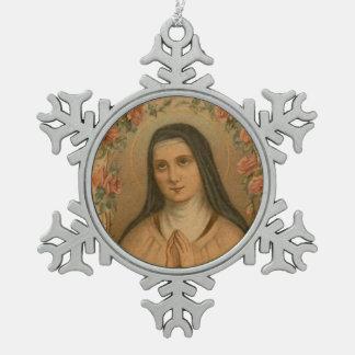 Ornement Flocon De Neige St Therese de l'enfant Jésus peu de fleur