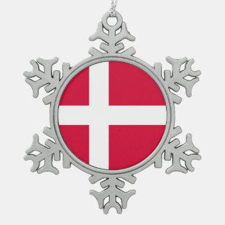 Ornement Flocon De Neige Symbole de drapeau de pays du Danemark longtemps