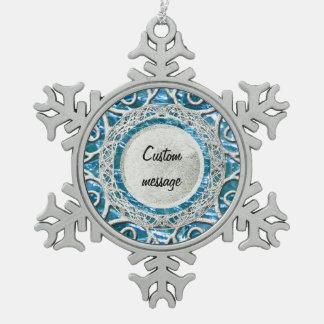Ornement Flocon De Neige Topaze en verre crépitée de bleu de décembre de