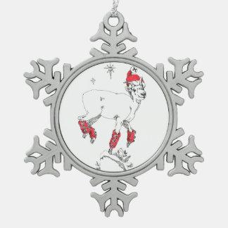 Ornement Flocon De Neige Vacances caracolantes de Noël de brebis de chèvre