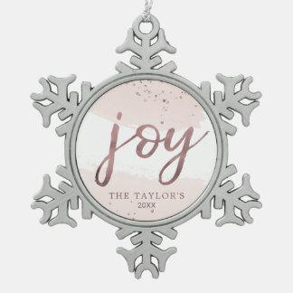 Ornement Flocon De Neige Vacances roses d'or de la joie |