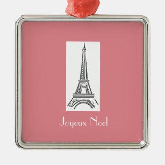 Ornement français de Noël de Tour Eiffel de Joyeux