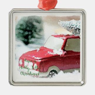 Ornement gai de Noël de camion de Noël de houx