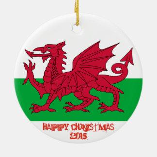 Ornement Rond En Céramique Ornement gallois de Noël de drapeau de dragon du