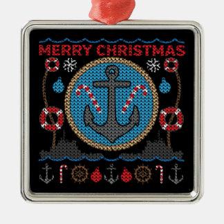 Ornement laid de chandail de Noël d'ancre nautique