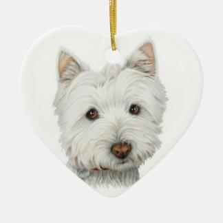 Ornement mignon de coeur de chien de Westie
