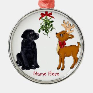 Ornement noir de Noël de laboratoire et de renne