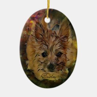 Ornement ovale de chiot de Terrier de cairn, Brown