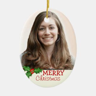Ornement ovale double face de photo de Noël