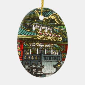 Ornement Ovale En Céramique 川瀬巴水 de Kawase Hasui : Tombeau de Toshogu à Nikko