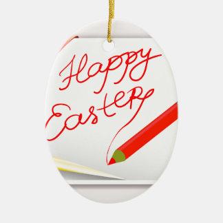 Ornement Ovale En Céramique 150Happy Easter_rasterized