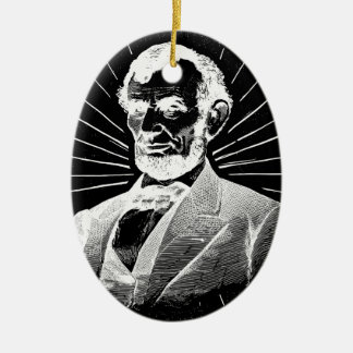 Ornement Ovale En Céramique Abraham Lincoln grunge