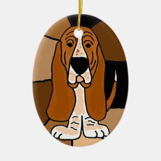 Ornement Ovale En Céramique Abrégé sur adorable art de chien de Basset Hound