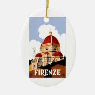 Ornement Ovale En Céramique Affiche 1930 de voyage de Duomo de Florence Italie