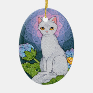 Ornement Ovale En Céramique Affirmation d'Oracle de chats d'imaginaire -