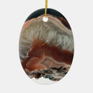 Ornement Ovale En Céramique Agate de Brown