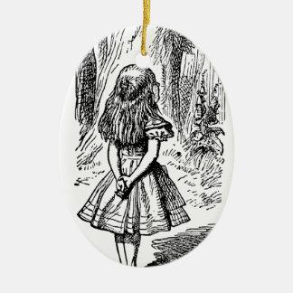 Ornement Ovale En Céramique Alice vintage chat au pays des merveilles,