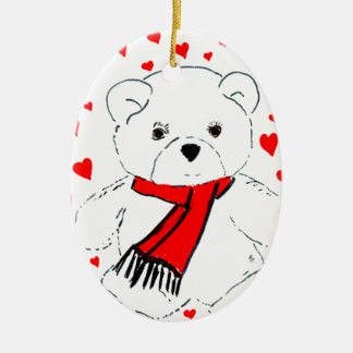 Ornement Ovale En Céramique amour d'ours de nounours