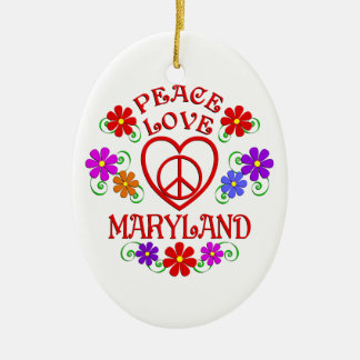 Ornement Ovale En Céramique Amour le Maryland de paix