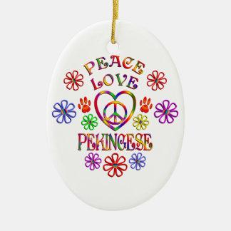 Ornement Ovale En Céramique Amour Pekingese de paix