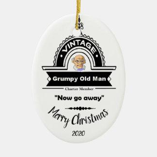 Ornement Ovale En Céramique Amusement grincheux de club de vieil homme de Noël