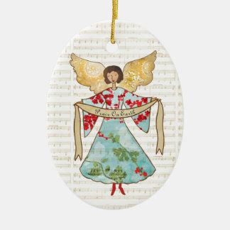 Ornement Ovale En Céramique Ange de Noël personnalisé