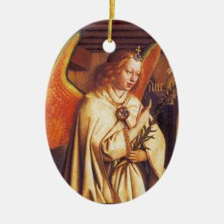 Ornement Ovale En Céramique Ange de Noël rouge de pierre gemme d'annonce