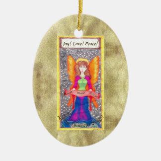 Ornement Ovale En Céramique Anges de solstice de Noël de la terre
