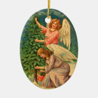 Ornement Ovale En Céramique Anges décorant l'arbre de Noël