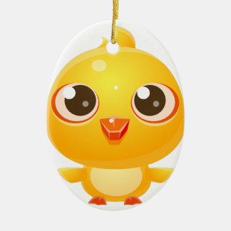 Ornement Ovale En Céramique Animal de bébé de poulet dans le style doux Girly